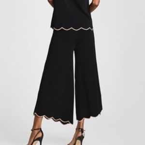 Zara knit wear black Scalloped culottes size M